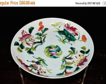 Antique Chinese porcelain plate glossy famile rose flower on top glaze on Yingqing glaze.
