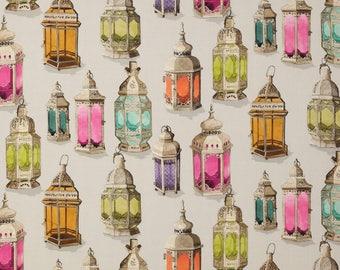 MANUEL CANOVAS MOROCCAN Lanterns Toile Fabric 10 Yards Cream  Rose Lavender Persimmons Multi