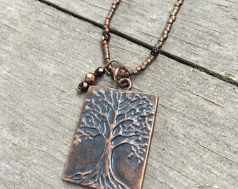 Antique Bronze Tree Pendant Necklace - Earth Tones