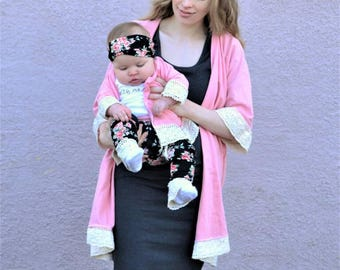 Mom and baby matching kimonos, Mommy and baby cardigans, Mom and baby swim cover up, Matching cover up, mother and daughter matching outfit
