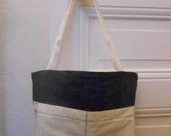 Small Tote bag in Navy and beige denim cotton for summer