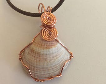 Sea Shell Copper Wire Wrapped Necklace