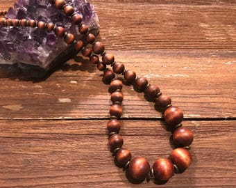 Vintage boho bohemian style wooden bead necklace