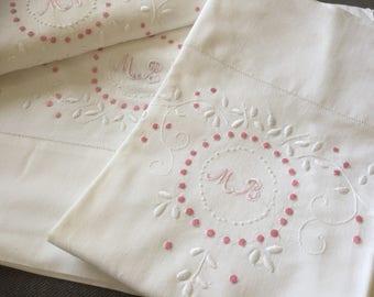 Francés antiguo set de ropa de cama/doble / mano bordada con monograma/MB/hoja plana / y /pillow