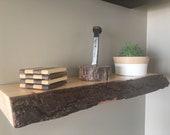 Wood shelf,  natural live edge - canadian pine - rustic shelf - floating shelf - live edge floating shelf
