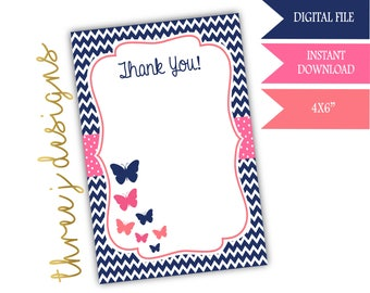 Butterfly Baby Shower Thank You Card - INSTANT DOWNLOAD - Navy Blue, Pink and Coral - Digital File - J003