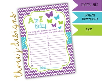 Butterfly Baby Shower A to Z Baby Game - INSTANT DOWNLOAD - Purple, Teal and Green - Digital File - J006