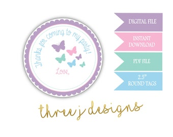 Butterfly Birthday Party Thank You Favor Tags - INSTANT DOWNLOAD - Pastel Purple, Pink, Green and Blue - Digital File - J011