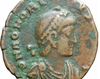 384 - 423 A.D Western Roman Empire Honorius AE3 Coin Cyzicus Mint