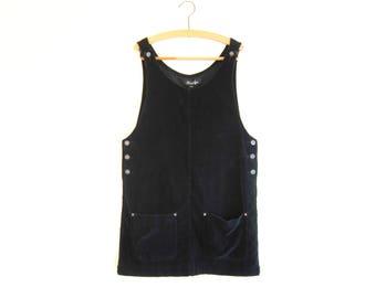 Minimal Black Velvet Jumper - 1990s Soft Grunge Overall Mini Dress - 90's Goth Jumper Dress Size Large - Sleeveless Shift Pinafore Dress