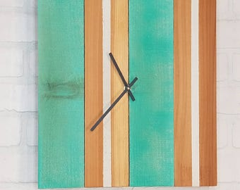 Rectangular Wall Clock - Green and Natural with White Stripes