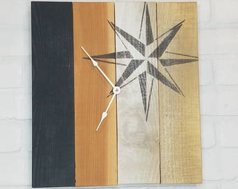 Rectangular Wall Clock - Gold, White and Black with Nautical Star