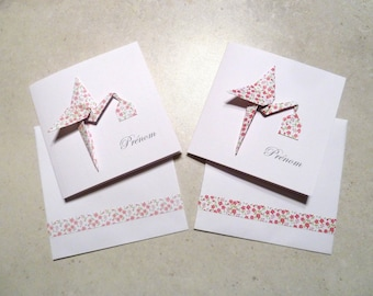 Origami birth - announcement card double paper yard raspberry origami Stork - liberty rose hand