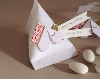 Baptism favors box carton + Unicorn origami - thank you gift guests birthday, baptism, hand-made Bridal