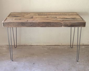 Vintage Mid Century Steel Hairpin Leg Console Accent Sofa Entryway Enty  Hall Work Table Desk Server
