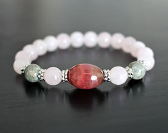 Stone bracelet, love and fertility, quartz rose, agate