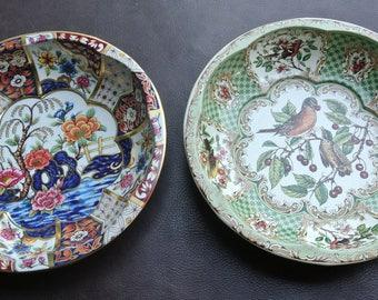 Vintage Daher Bowls, 1970s Metal Bowls, Set of 2, Green Litho Tin Bowl, Floral Metal Bowls, Daher Bird Bowls, Daher Tin Bowls