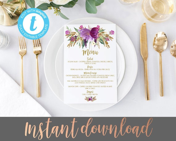 wedding menu template menu template editable wedding menu purple