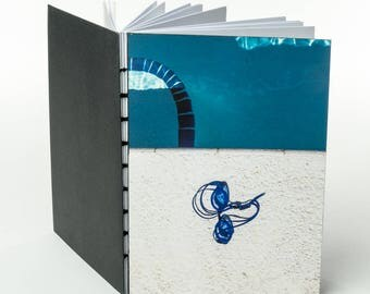 ABSTRACT POOLSIDE | small handmade coptic bound blank book diary journal notebook original cover photo | aBoBoBook