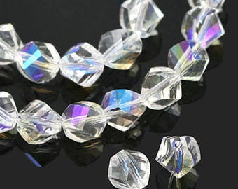 jewelry making couples for necklace bracelet Crystal Beads (twist cut) 10mm Crystal Beads (AB) [5 pieces]