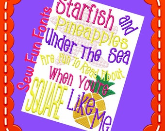 Starfish and Pineapples Spongebob Inspired Embroidery Saying, Reading Pillow Saying, Subway Art, Machine Embroidery Design, INSTANT DOWNLOAD
