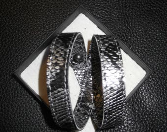 Bracelet Eco leather-silver and black