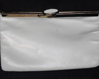 Vintage Etra White Leather Clutch