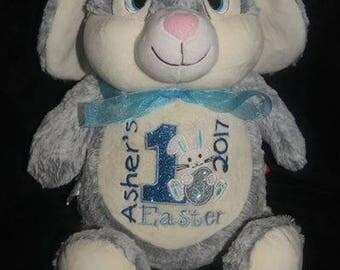 Grey Rabbit Cubbie, personalised toy, plush toy, baby toy, christmas, birthday, baby shower, soft toy, wedding, kids, baby, boyfriend