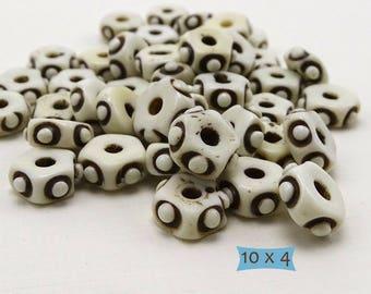Rustic Wheel Bone Beads—10 Pcs   20-BN236-10