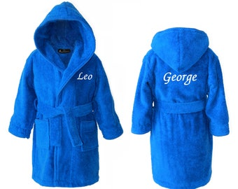 Personalised Pyjamas for Children's, Personalised ROYAL BLUE Children's Towelling Dressing Gown Bathrobe with Hood