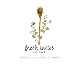 Wooden Spoon Logo-Catering Logo-Bakery Logo-Utensil Logo-Branding-Business Logo-Nature Logo-FREE font change