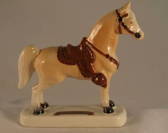 Vintage 1960's Ceramic Palomino Horse Victoria Ceramics Made In Japan Souvenir for Indian Lake, Ohio, Western Saddle and Gear FREE SHIP