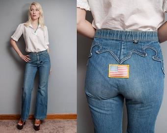 VTG 1970's I Patched | Distressed | Wide Leg | Denim | Jeans | XS