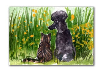 Black Poodle Tabby Cat Baby Nursery llmartin Original ACEO New Mom  Watercolor New Mom Free Shipping USA