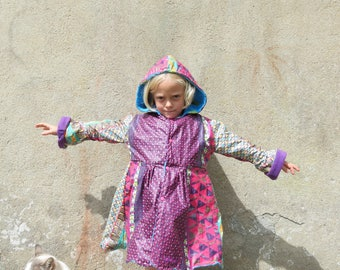 waterproof violet motifs hand sewn Princess coat flowers size 6T