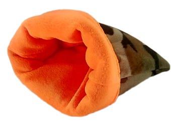 Camo dog bed, camo pet bed, large plush pet bed, snuggle sack, camo burrow bag, washable dog bed