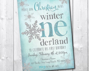Boy Winter Onderland Invitation Birthday printable/Digital File/Winter Wonderland boy invitation little snowflake/Wording can be changed