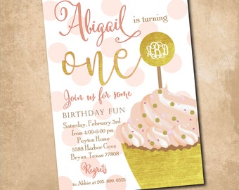 Girl First Birthday Invitation, Cupcake Birthday Invitation, pink and gold, monogram, watercolor, cake/Digital/Wording can be changed