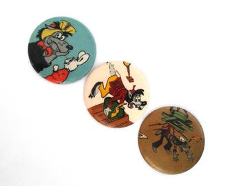 Vintage soviet children's pin badges, Wolf, hare, Nu Pogodi, cartoon characters, made in USSR, 1980s