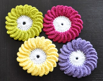 Crochet coasters,Set of crocheted coasters,Handmade coasters,crochet home decor,crochet gift.
