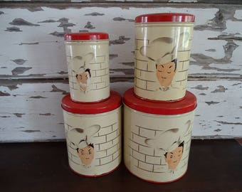 Vintage French Chef Canister Set, Set of 4 Metal Kitchen Storage Containers, Charming Chef Design, Made in USA, Kitschy Kitchen Collectible