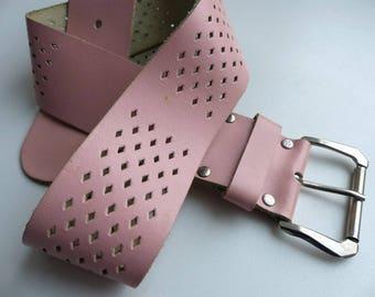 Vintage pink leather Belt / Leather Belt / wide pink Belt Genuine Leather Belt / Womens Leather Belt / vintage belt 1980s