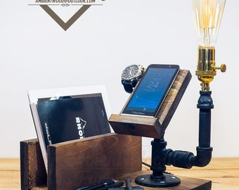Industrial Pipe Lamp With IPad support and Apple watch dock charger & Phone Docking Station