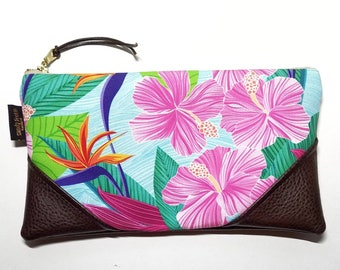 Large Pink Hibiscus Zipper Clutch / Zip Pouch with Zipper Pull or Leather Wristlet Strap