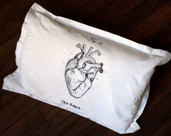 Pillow cover - vintage Anatomy heart