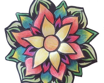 3D Colouring In Project - Flower
