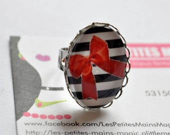 red striped Ribbon (bow cabochon Adjustable ring