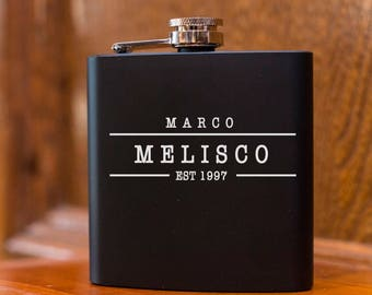 Laser Etched Flask - Name Flask - In Gift Box - Groomsman Gift - Wedding Party Gift - Best Man Gift - Black Flasks - Personalized Gift