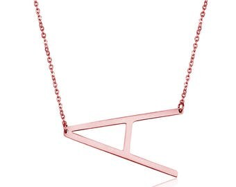 Silver Tone/Rose Gold Plated Stainless Steel Necklace, Personalize Necklace, Letter A