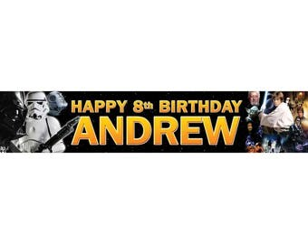 2 x Star Wars Personalised Birthday Banner, custom, party,